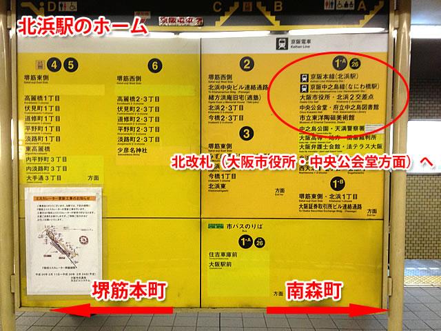 大阪市役所・中央公会堂方面へ